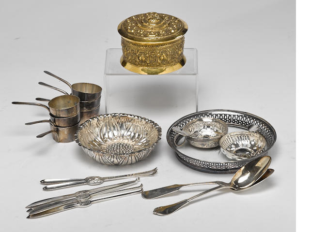An assembled group of International  silver and silverplate accessories, flatware and hollowware by various makers, 19th - 20th century