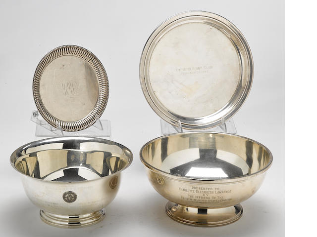 An assembled four piece group of American sterling silver  hollowware by various makers,  late 19th/mid-20th century