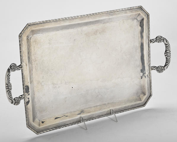A Peruvian sterling silver rectangular two-handled tray maker's mark F.P.C., 20th century