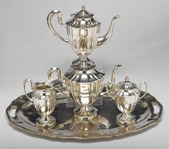 A Mexican  sterling silver  four-piece tea and coffee service, with matching two-handled tray marked Anexo, 20th century