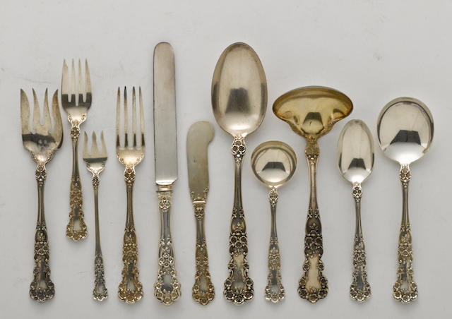An American sterling silver assembled part flatware service for twelve by Gorham Mfg. Co., Providence, RI, 20th century