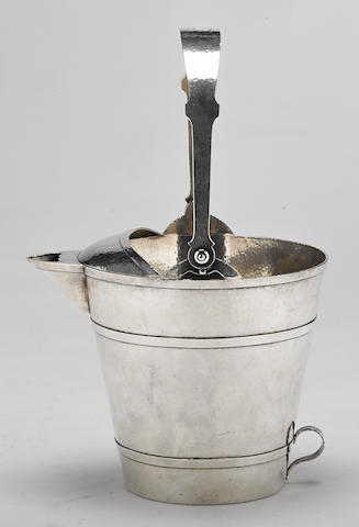 An American hammered sterling silver Arts & Crafts ice bucket by Shreve & Co., San Francisco, CA, first quarter 20th century