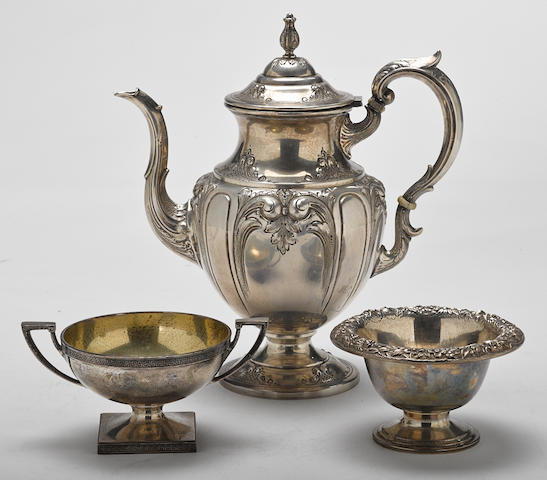 An assembled grouping of silver