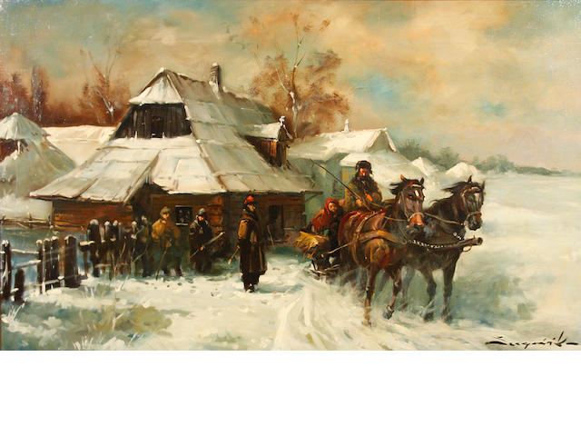 Karoly Szegvary (Hungarian) The Russian border 28 x 46in