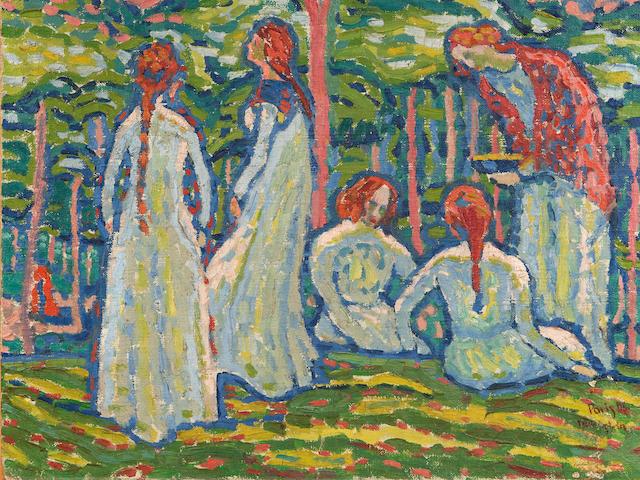 MAX PECHSTEIN (1881-1955) Jeunes Filles 18 1/8 x 21 7/8in. (46 x 55.5cm)