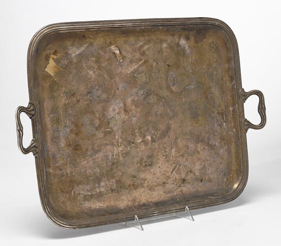 A French silverplate rounded rectangular two-handled tray by Christofle & Cie, Paris, early 20th century