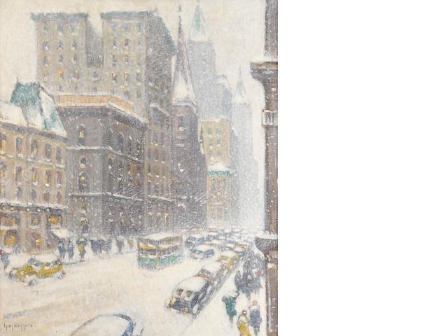Guy Carleton Wiggins (American, 1883-1962) Fifth Avenue, Midtown 30 x 25in