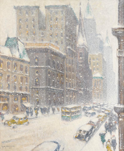 Guy Carleton Wiggins (American, 1883-1962) Fifth Avenue, Midtown 30 x 25in