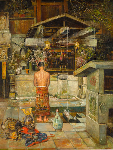 Gyula Tornai (Hungarian, 1861-1928) The holy cleansing of the Samurai 45 1/4 x 35in (115 x 84cm)