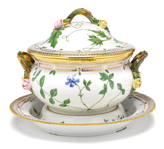 A Royal Copenhagen Flora Danica porcelain soup tureen, cover and stand date code for 1968