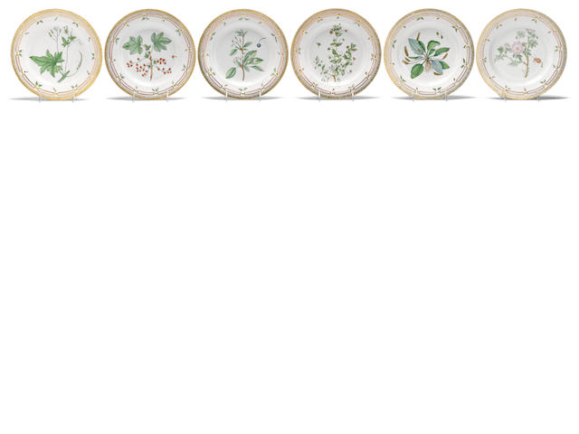 Twelve Royal Copenhagen Flora Danica porcelain dinner plates date codes for 1969-74, 1980-84 and 1985-91