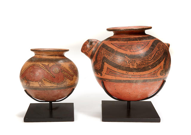 Two polychrome pottery vessels