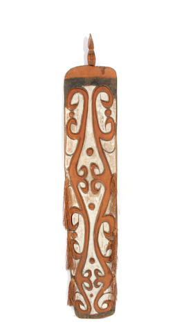 An Asmat shield height 67in; width 12in; depth 3in