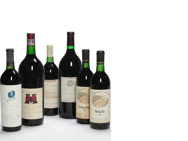 Diamond Creek Cabernet Sauvignon, Volcanic Hill 1974 (2)<BR />Diamond Creek Cabernet Sauvignon 1977 (5)<BR />Diamond Creek Cabernet Sauvignon 1979 (2)<BR />Diamond Creek Cabernet Sauvignon 1980 (10)<BR />Diamond Creek Cabernet Sauvignon 1981 (3)