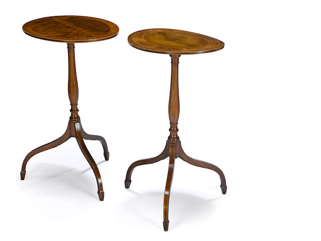 A near pair of George III inlaid mahogany candlestands late 18th century