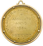 A first place gold medal for the Fifth Annual Carrera Panamericana, 1954, awarded to Umberto Maglioli,