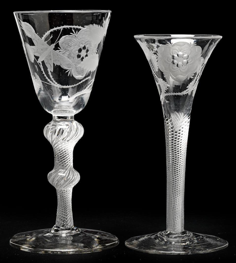 Two Jacobite airtwist wine glasses circa 1750