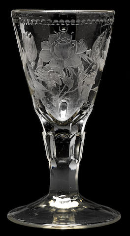 A Potsdam engraved glass goblet  circa 1730