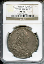 Russia, Peter II, Silver Rouble, 1727 XF45 NGC
