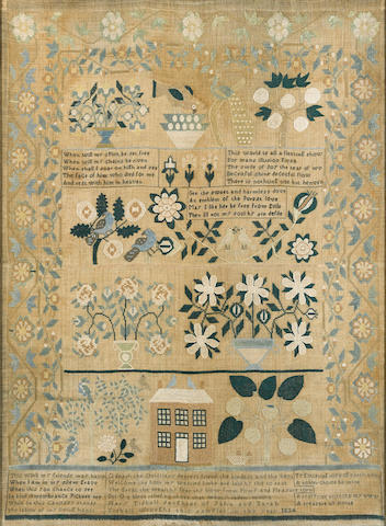 A silk and linen needlework sampler wrought by Mary Tidball, dated 1834