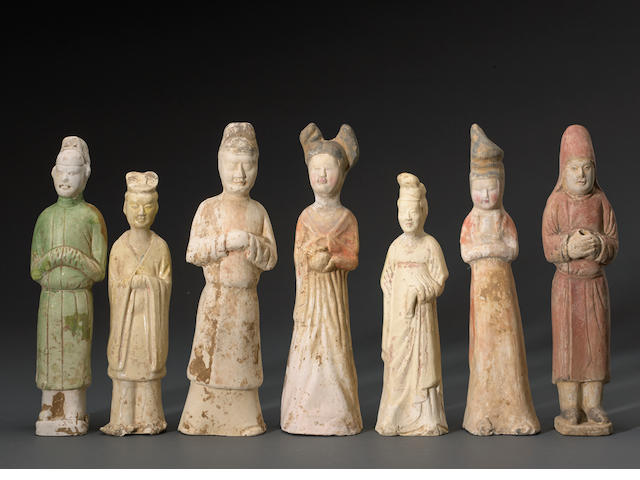 A group of seven pottery tomb figures Sui/Tang