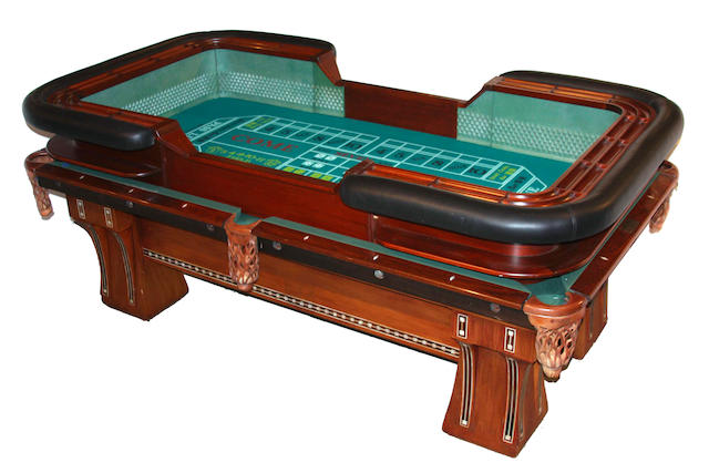 A custom inlaid wood pool table