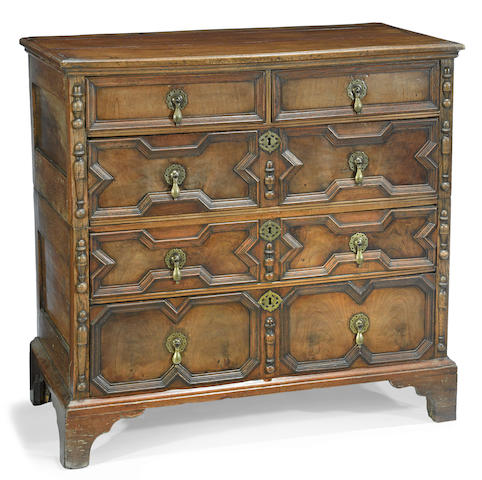 A William and Mary walnut chest of drawers late 17th/early 18th century