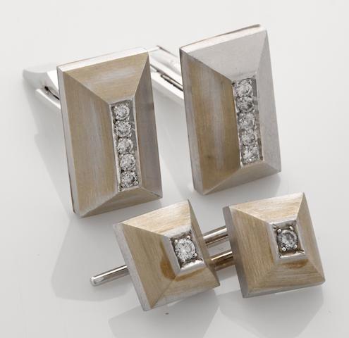 A diamond and 14k white gold gentleman's dress set