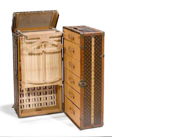 A large and impressive Louis Vuitton monogram wardrobe trunk  retailed by Arthur Gilmore Inc., New York early 20th century