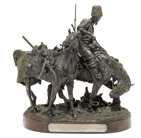 A Russian patinated bronze equestrian group, Cossack After the Battle  after a model by Evgeny Alexandrovich Lanceray (Russian, 1848-1886)