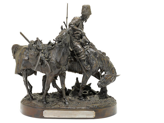 A Russian patinated bronze equestrian group, Cossack After the Battle <BR />after a model by Evgeny Alexandrovich Lanceray (Russian, 1848-1886)