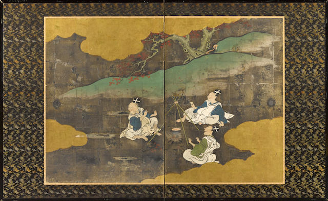 Late Rimpa school (19th century) Warming Sake with Maple Leaves