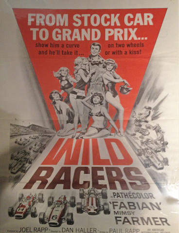 A selection of three racing themed 1950s era movie posters,
