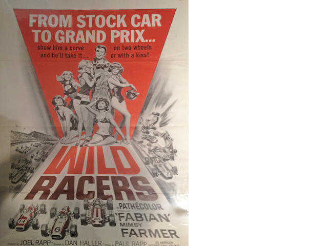A selection of three racing themed 1950's era movie posters,