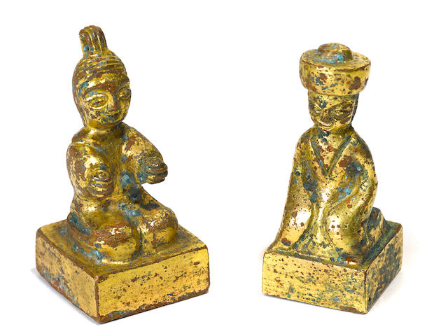 Two gilt bronze figural seals Tang dynasty