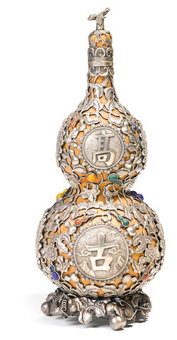 A silver overlaid double gourd  19th century