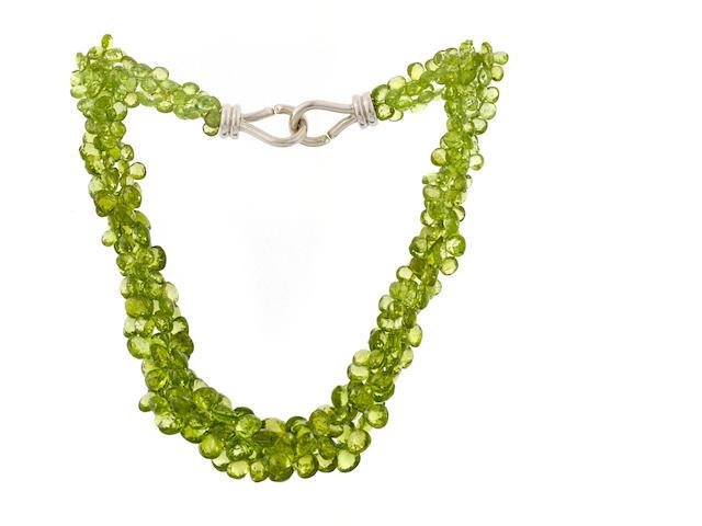 A peridot torsade necklace