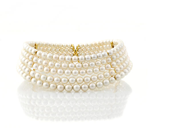 A cultured pearl five-row choker necklace
