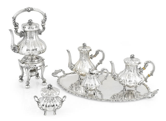 An Italian 800 standard silver Rococo style five-piece tea and coffee service by Orafa Valenzana, Valenza, first half 20th century