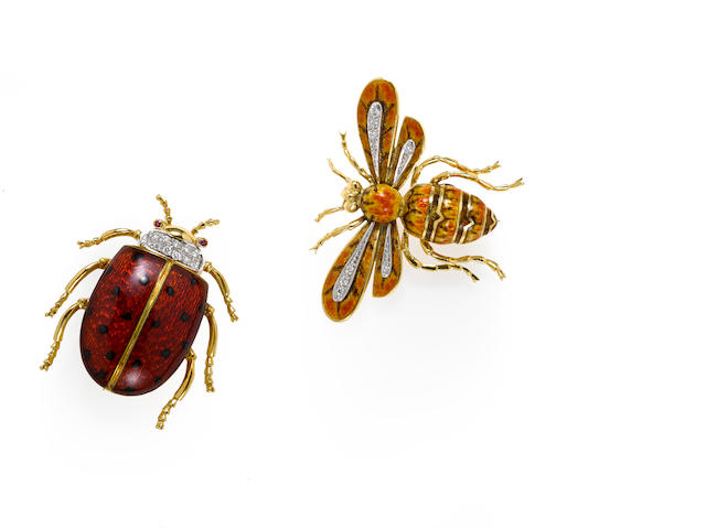 Two enamel and diamond insect brooches