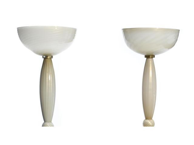A pair of Barovier & Toso Cordonato d'Oro glass floor lamps 1940s