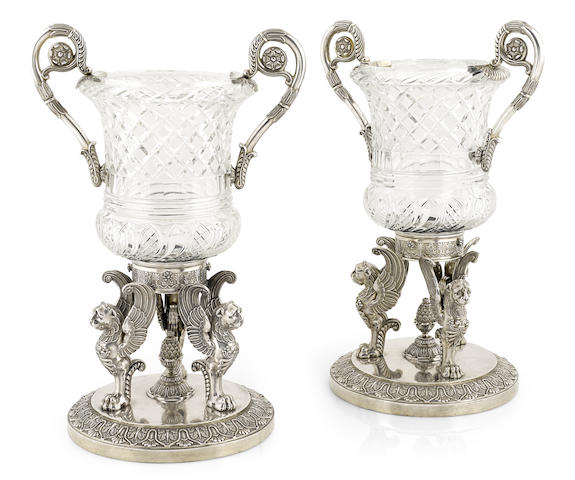 A pair of late George III sterling-silver-mounted cut-glass urns by Paul Storr, London, 1808