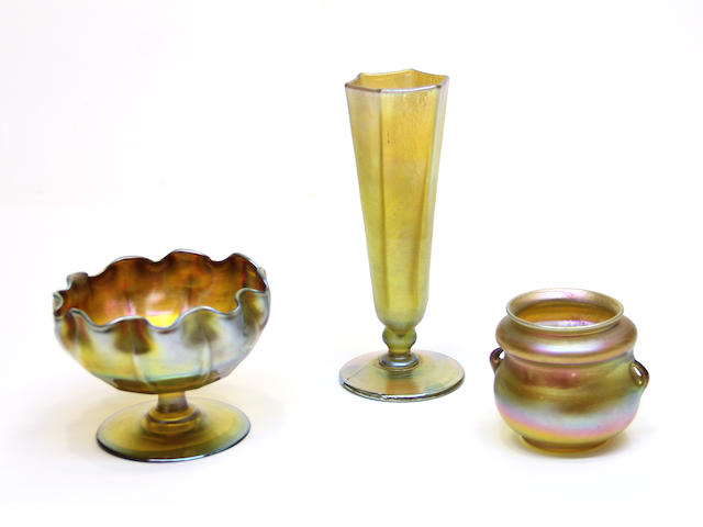 A Tiffany Studios Favrile glass footed bowl, hexagonal vase and jar early 20th century