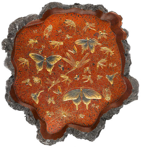 A lacquered burl wood tray Meiji/Taisho period (late 19th/early 20th century)