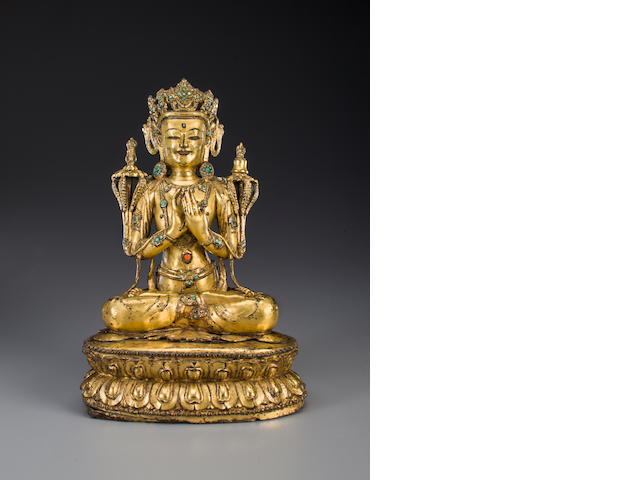 A gilt copper alloy figure of Vajradhara Tibet, 15th century