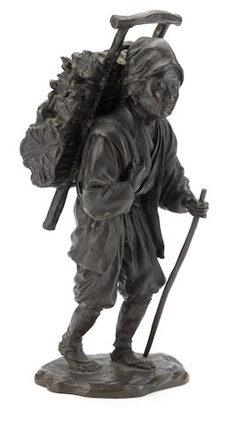 A bronze figure of a peasant By Genryusai Seiya, late Meiji period (early 20th century)