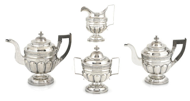 An American  coin silver  Classical four piece tea and coffee service by John McFarlane, Boston, MA,  active 1800-1813