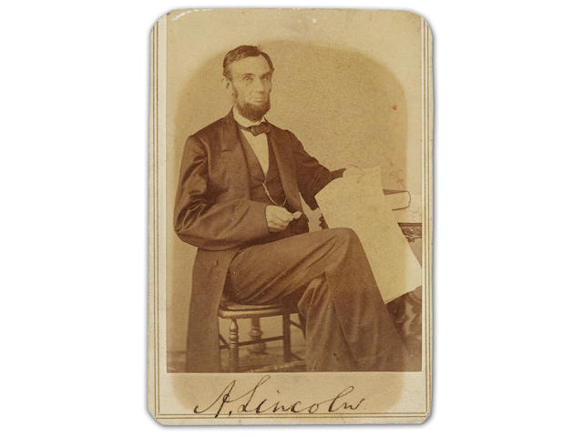 "LINCOLN, ABRAHAM. 1809-1865. Photograph Signed (""A. Lincoln""), albumen print carte-de-visite,"