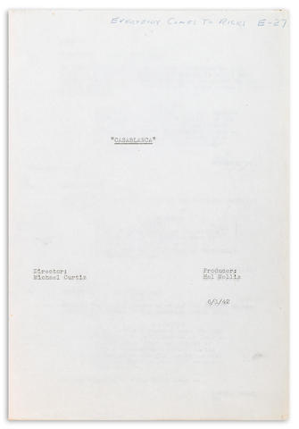 Producer Hal Wallis's working copy of the shooting script for Casablanca