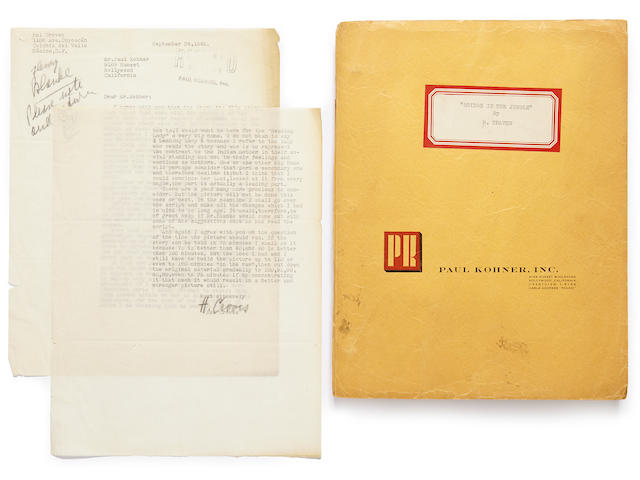 TRAVEN, B. (PSEUD OF HAL CROVES).  D. 1969. Typed Manuscript, screenplay adaptation of The Bridge in the Jungle, 280 pp, 4to, n.p., n.d. [but c.1945], in  yellow Paul Kohner Agency wraps with typed label to upper cover,